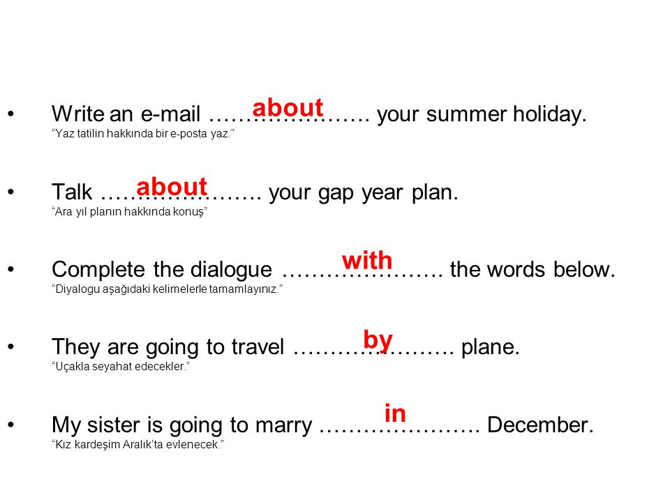 •Write an e-mail ………………….your summer holiday.