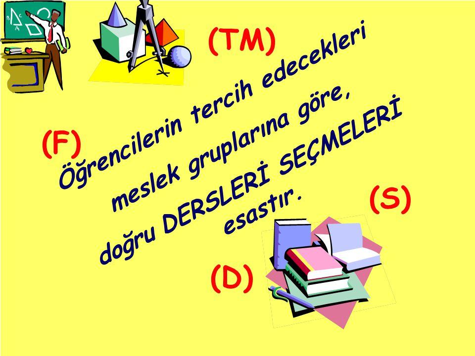 Öğrencilerin tercih edecekleri meslek gruplarına göre, doğru DERSLERİ SEÇMELERİ esastır. (TM) (F) (D) (S)