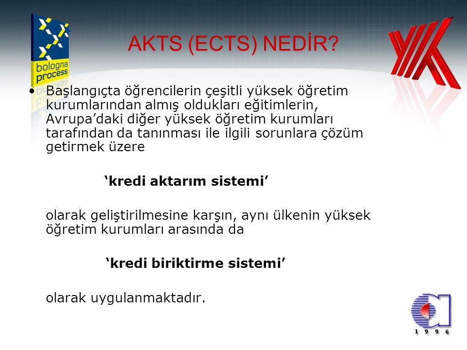 2 AKTS (ECTS) NEDİR? •Başlangıçta öğrencilerin çeşitli yüksek öğretim kurumlarından almış oldukları eğitimlerin, Avrupa'daki diğer yüksek öğretim kuru