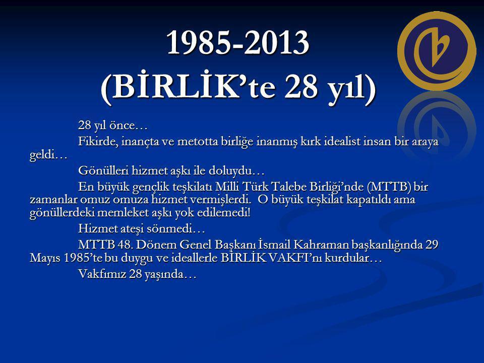 1985-2013 (BİRLİK'te 28 yıl) 28 yıl önce… Fikirde, inançta ve metotta birliğe inanmış kırk idealist insan bir araya geldi… Gönülleri hizmet aşkı ile doluydu… En büyük gençlik teşkilatı Milli Türk Talebe Birliği'nde (MTTB) bir zamanlar omuz omuza hizmet vermişlerdi.