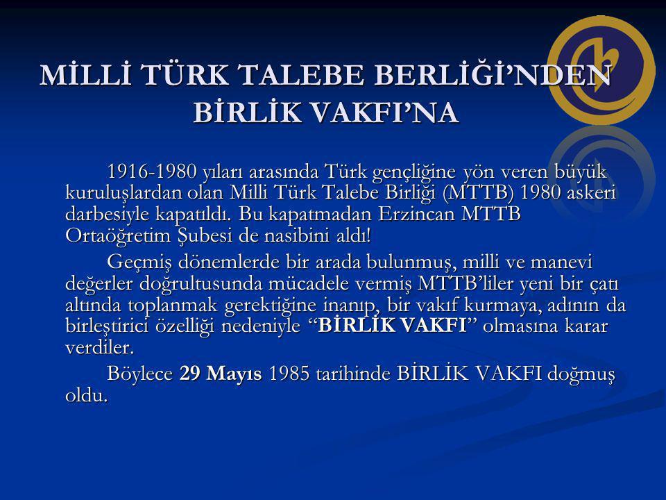 MİLLİ TÜRK TALEBE BERLİĞİ'NDEN BİRLİK VAKFI'NA 1916-1980 yıları arasında Türk gençliğine yön veren büyük kuruluşlardan olan Milli Türk Talebe Birliği (MTTB) 1980 askeri darbesiyle kapatıldı.