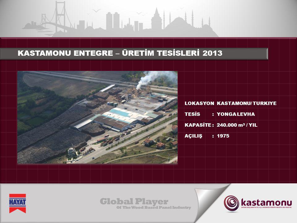 KASTAMONU ENTEGRE – ÜRETİM TESİSLERİ 2013 LOKASYON TESİS KAPASİTE AÇILIŞ :::::::: KASTAMONU/ TURKIYE YONGA LEVHA 240.000 m 3 / YIL 1975