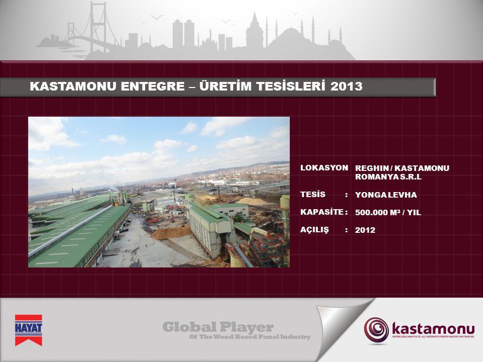 KASTAMONU ENTEGRE – ÜRETİM TESİSLERİ 2013 LOKASYON TESİS KAPASİTE AÇILIŞ :::::::: REGHIN / KASTAMONU ROMANYA S.R.L YONGA LEVHA 500.000 M 3 / YIL 2012