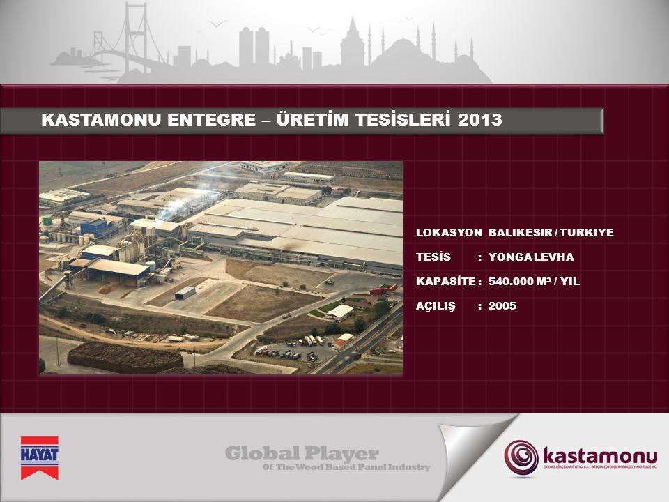 KASTAMONU ENTEGRE – ÜRETİM TESİSLERİ 2013 LOKASYON TESİS KAPASİTE AÇILIŞ :::::::: BALIKESIR / TURKIYE YONGA LEVHA 540.000 M 3 / YIL 2005