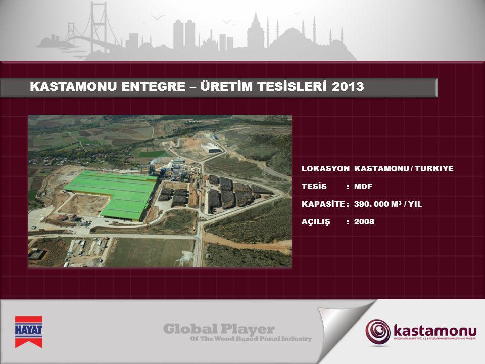 KASTAMONU ENTEGRE – ÜRETİM TESİSLERİ 2013 LOKASYON TESİS KAPASİTE AÇILIŞ :::::::: KASTAMONU / TURKIYE MDF 390. 000 M 3 / YIL 2008