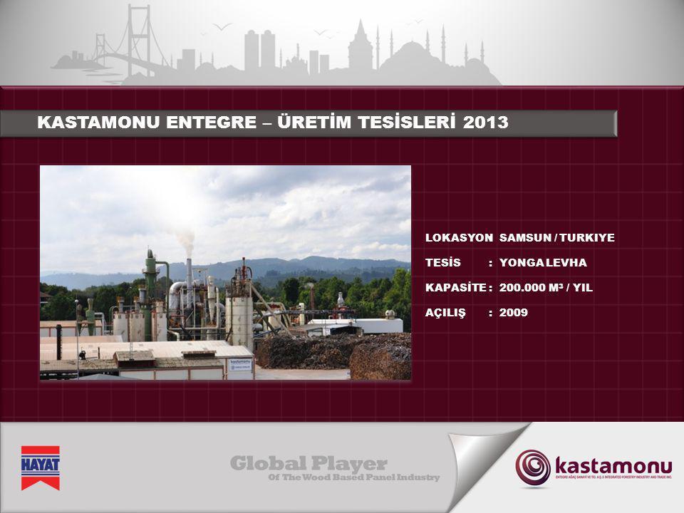 KASTAMONU ENTEGRE – ÜRETİM TESİSLERİ 2013 LOKASYON TESİS KAPASİTE AÇILIŞ :::::::: ADANA / TURKIYE MDF 450.000 M 3 / YIL 2012