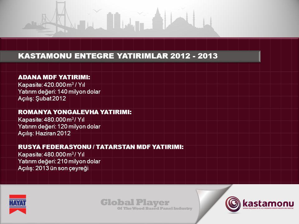 ADANA MDF YATIRIMI: Kapasite: 420.000 m 3 / Yıl Yatırım değeri: 140 milyon dolar Açılış: Şubat 2012 ROMANYA YONGALEVHA YATIRIMI: Kapasite: 480.000 m 3