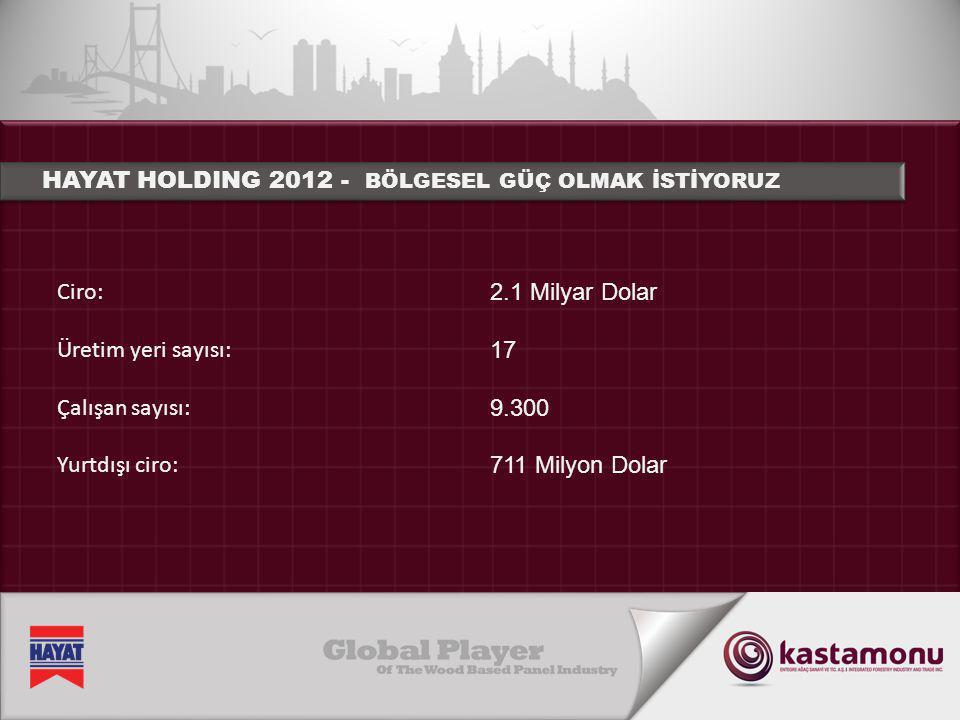 Ciro: Üretim yeri sayısı: Çalışan sayısı: Yurtdışı ciro: HAYAT HOLDING 2012 - BÖLGESEL GÜÇ OLMAK İSTİYORUZ 2.1 Milyar Dolar 17 9.300 711 Milyon Dolar