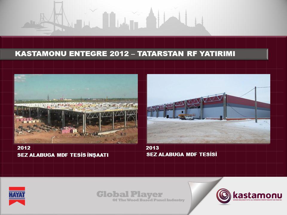 KASTAMONU ENTEGRE 2012 – TATARSTAN RF YATIRIMI İnşaat çalışmaları 2011'in sonlarında başlamış olup 2013'ün sonlarında bitecek.