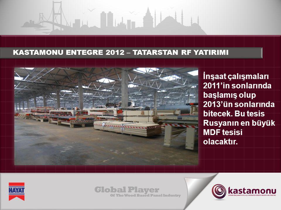 KASTAMONU ENTEGRE 2012 – TATARSTAN RF YATIRIMI İnşaat çalışmaları 2011'in sonlarında başlamış olup 2013'ün sonlarında bitecek. Bu tesis Rusyanın en bü