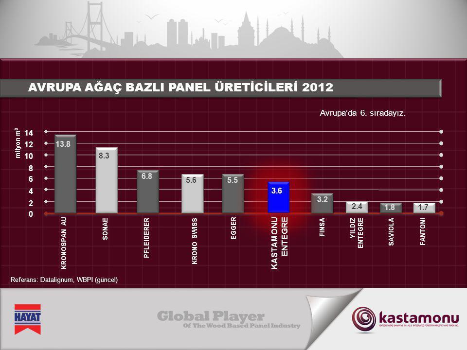 AVRUPA AĞAÇ BAZLI PANEL ÜRETİCİLERİ 2012 1.7 KRONO SWISS Avrupa'da 6. sıradayız. KRONOSPAN AU SONAE PFLEIDERER EGGER YILDIZ ENTEGRE SAVIOLAFANTONI 0 2