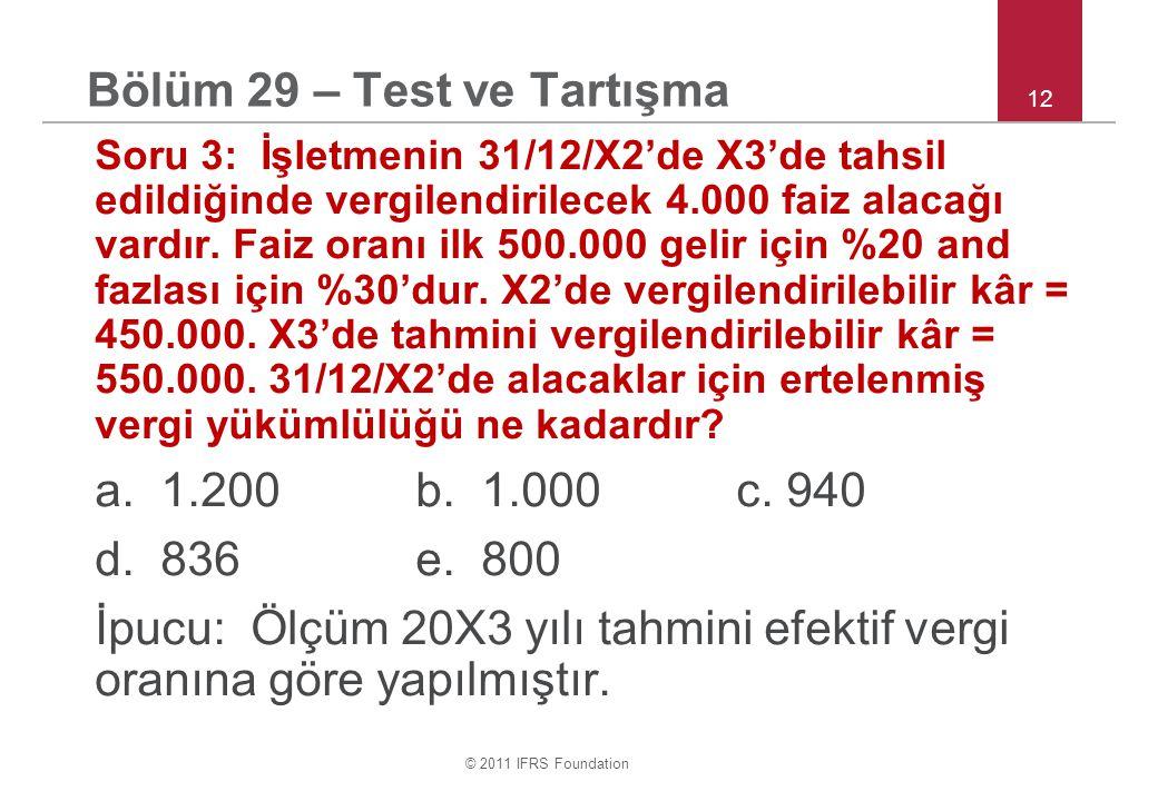 © 2011 IFRS Foundation 12 Bölüm 29 – Test ve Tartışma Soru 3: İşletmenin 31/12/X2'de X3'de tahsil edildiğinde vergilendirilecek 4.000 faiz alacağı vardır.
