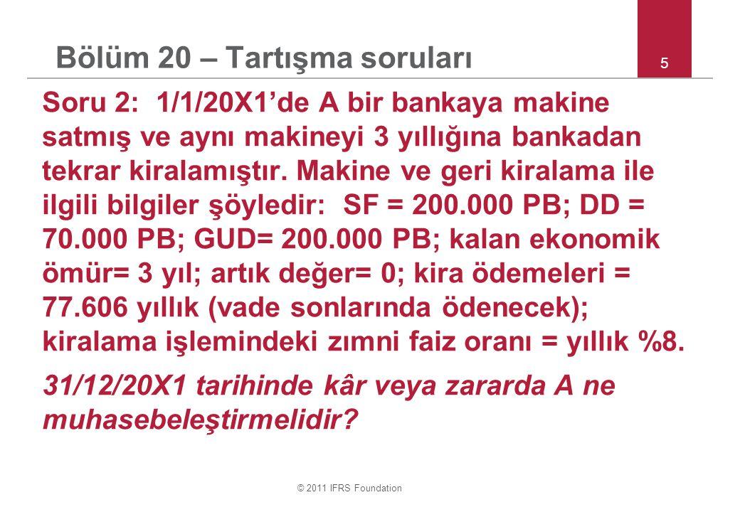 © 2011 IFRS Foundation 16 Bölüm 29 – Test ve Tartışma Soru 6: Şıklar: Dönem vergi yükümlülüğü ve gideri Ertelenmiş vergi yükümlülüğü ve gideri Şık a20.0006.000 Şık b20.0009.000 Şık c22.0006.000 Şık d25.0007.500 Şık e30.0009.000