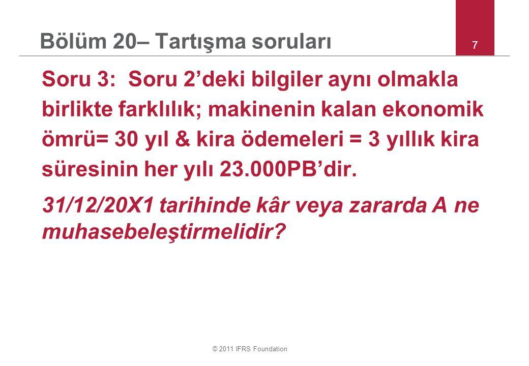 © 2011 IFRS Foundation 8 Bölüm 20– Tartışma soruları Soru 3 devamı : a.130.000 MDV satışı kazancı & 23.000 PB kiralama gideri.