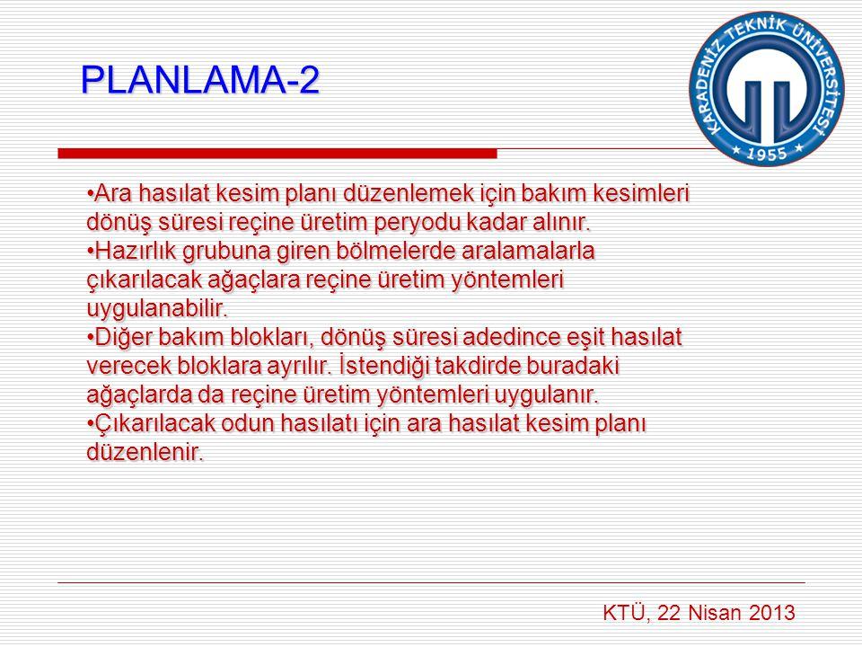 KTÜ, 22 Nisan 2013 PLANLAMA-2 •Ara hasılat kesim planı düzenlemek için bakım kesimleri dönüş süresi reçine üretim peryodu kadar alınır. •Hazırlık grub