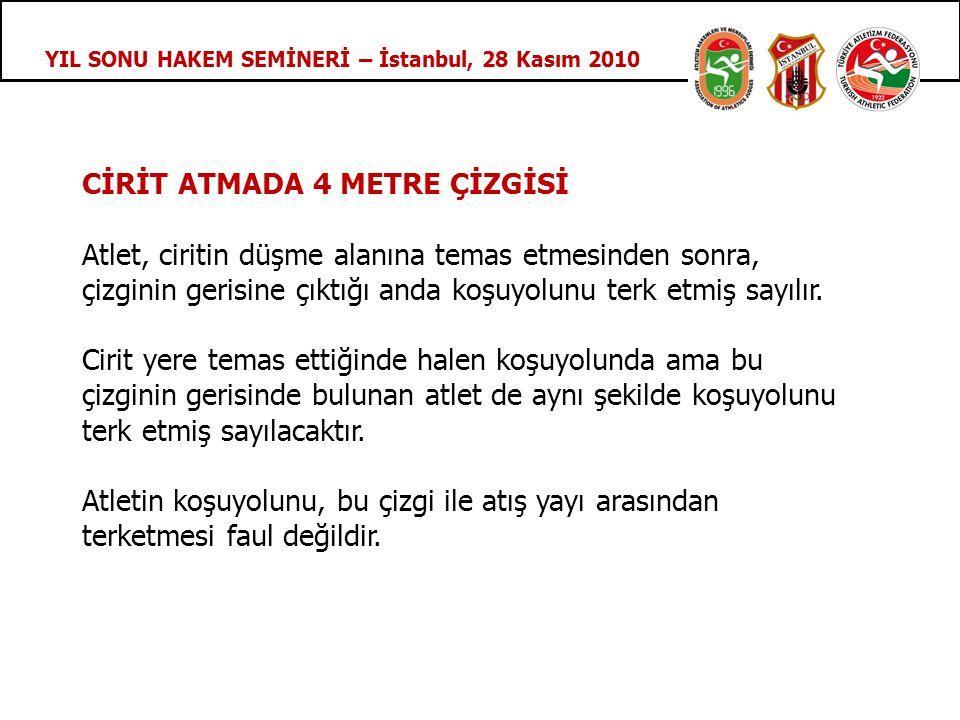 YIL SONU HAKEM SEMİNERİ – İstanbul, 28 Kasım 2010 CİRİT ATMADA 4 METRE ÇİZGİSİ Atlet, ciritin düşme alanına temas etmesinden sonra, çizginin gerisine çıktığı anda koşuyolunu terk etmiş sayılır.