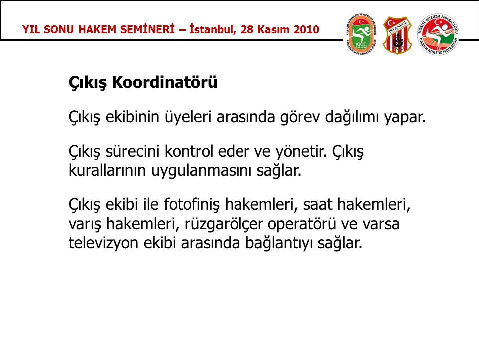 YIL SONU HAKEM SEMİNERİ – İstanbul, 28 Kasım 2010 Çıkış Koordinatörü Çıkış ekibinin üyeleri arasında görev dağılımı yapar.