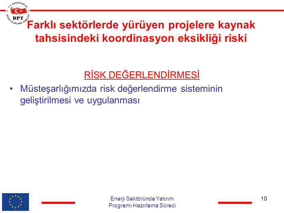 Farklı sektörlerde yürüyen projelere kaynak tahsisindeki koordinasyon eksikliği riski RİSK DEĞERLENDİRMESİ •Müsteşarlığımızda risk değerlendirme siste