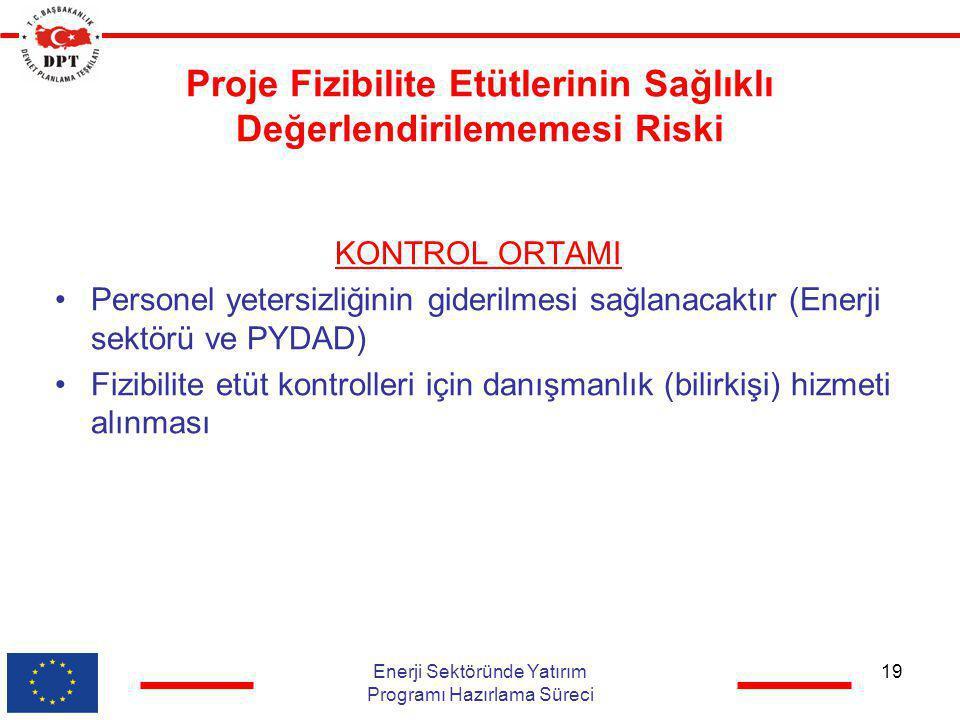Proje Fizibilite Etütlerinin Sağlıklı Değerlendirilememesi Riski KONTROL ORTAMI •Personel yetersizliğinin giderilmesi sağlanacaktır (Enerji sektörü ve
