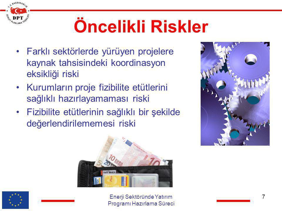 Öncelikli Riskler •Farklı sektörlerde yürüyen projelere kaynak tahsisindeki koordinasyon eksikliği riski •Kurumların proje fizibilite etütlerini sağlı