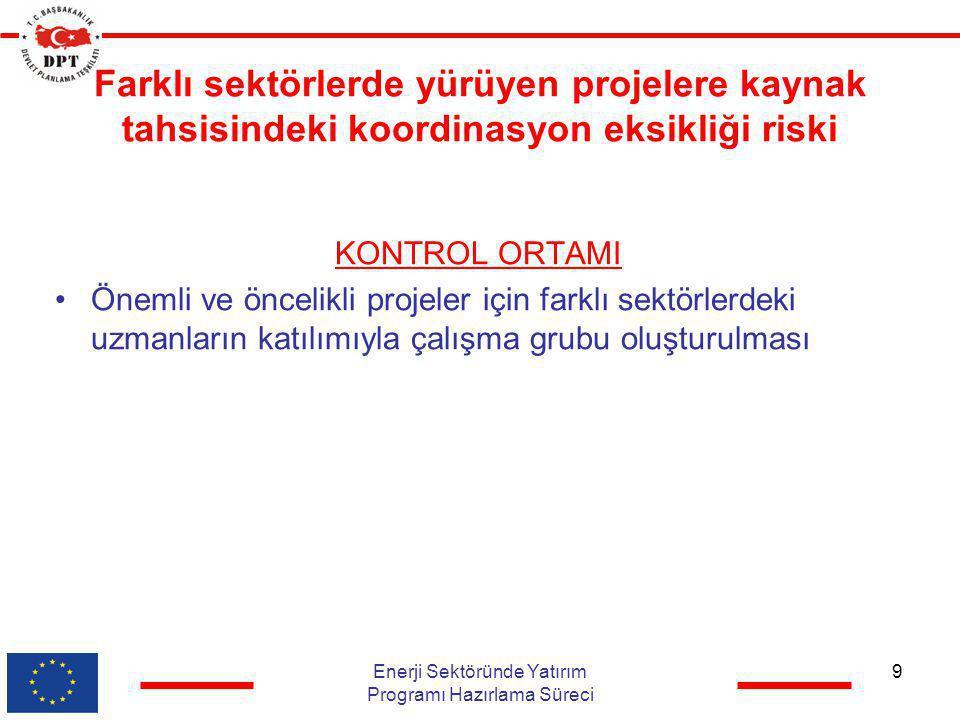 Farklı sektörlerde yürüyen projelere kaynak tahsisindeki koordinasyon eksikliği riski KONTROL ORTAMI •Önemli ve öncelikli projeler için farklı sektörl