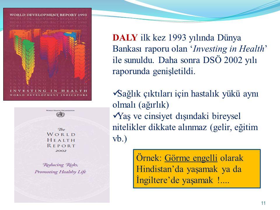 DALY ilk kez 1993 yılında Dünya Bankası raporu olan 'Investing in Health' ile sunuldu. Daha sonra DSÖ 2002 yılı raporunda genişletildi.  Sağlık çıktı