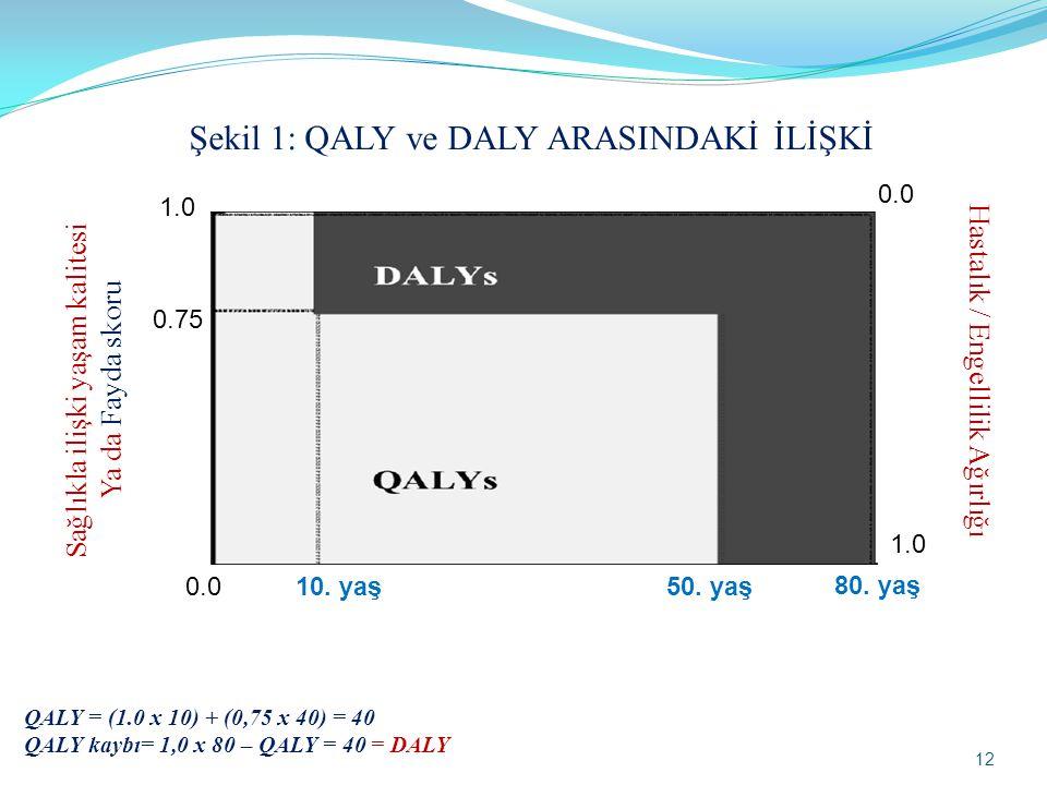 Sağlıkla ilişki yaşam kalitesi Ya da Fayda skoru 0.0 1.0 0.0 1.0 0.75 Hastalık / Engellilik Ağırlığı 50. yaş 10. yaş 80. yaş Şekil 1: QALY ve DALY ARA