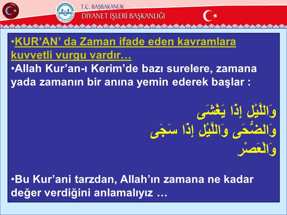 14 •KUR'AN' da Zaman ifade eden kavramlara kuvvetli vurgu vardır… •Allah Kur'an-ı Kerim'de bazı surelere, zamana yada zamanın bir anına yemin ederek b