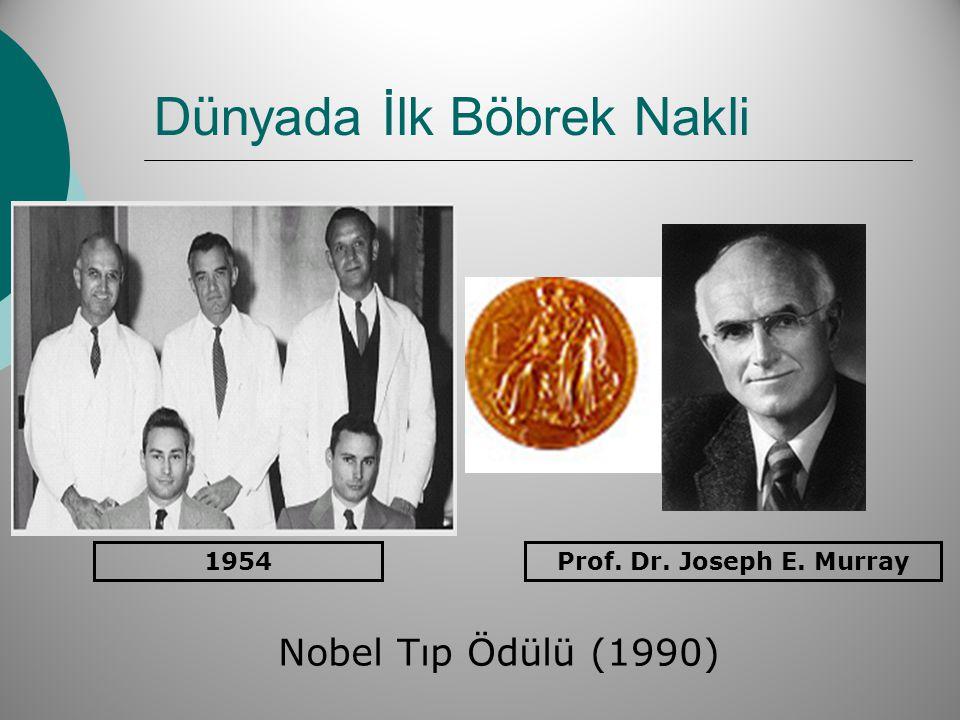 Dünyada İlk Böbrek Nakli Prof. Dr. Joseph E. Murray1954 Nobel Tıp Ödülü (1990)