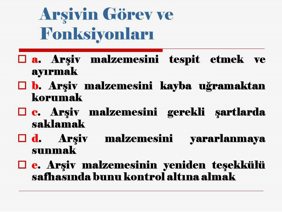 Kaynakça:  Devlet Arşiv Hizmetleri Hakkında Yönetmelik (16/05/1988 tarih ve 19816 sayılı)  Binark, İsmet, Arşiv ve Arşivcilik Bilgileri, Ankara: Başbakanlık Basımevi, 1980.