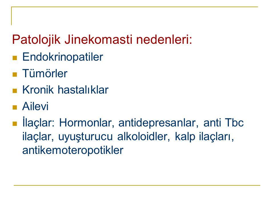 Patolojik Jinekomasti nedenleri:  Endokrinopatiler  Tümörler  Kronik hastalıklar  Ailevi  İlaçlar: Hormonlar, antidepresanlar, anti Tbc ilaçlar,