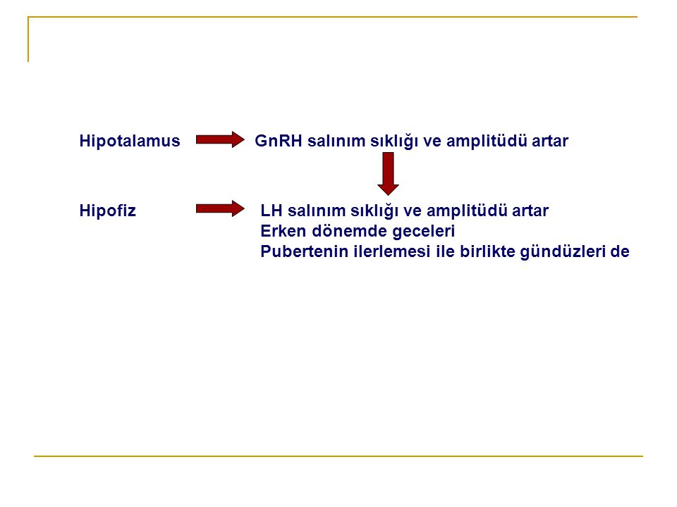 McCune Albright Sendromu   Ciltte yama tarzı pigmentasyon   Uzun boy   İskelet sisteminde fibröz displazi   Endokrin fonksiyon bozuklukları: Cushing, hipertroidi, (Santral değil periferik glandda sorun vardır)   LHRH testine gonadotropin yanıtı azalmıştır (LHRH analoglarına direnç vardır)