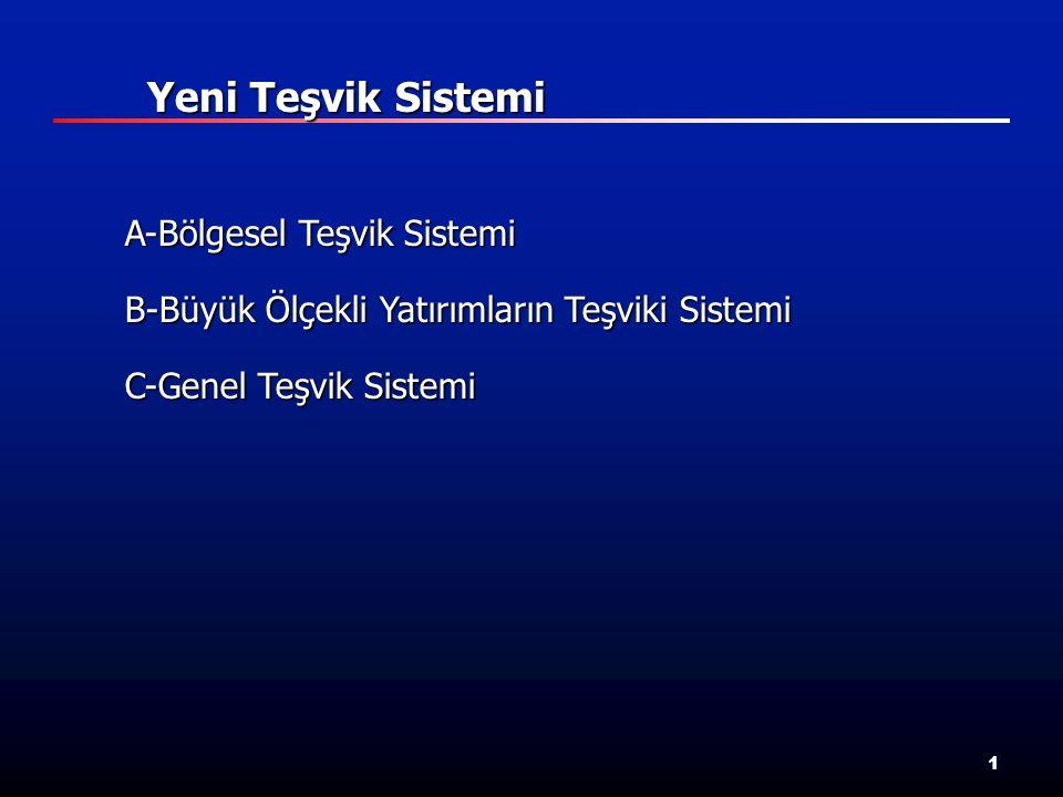 1 A-Bölgesel Teşvik Sistemi B-Büyük Ölçekli Yatırımların Teşviki Sistemi C-Genel Teşvik Sistemi Yeni Teşvik Sistemi Yeni Teşvik Sistemi