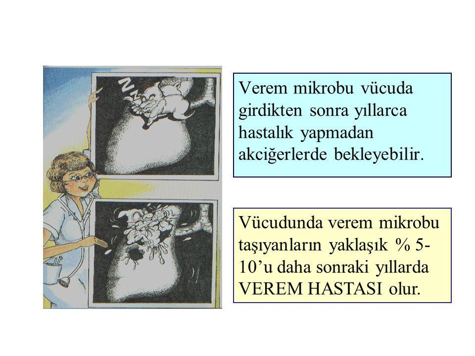 Verem mikrobu vücuda girdikten sonra yıllarca hastalık yapmadan akciğerlerde bekleyebilir. Vücudunda verem mikrobu taşıyanların yaklaşık % 5- 10'u dah