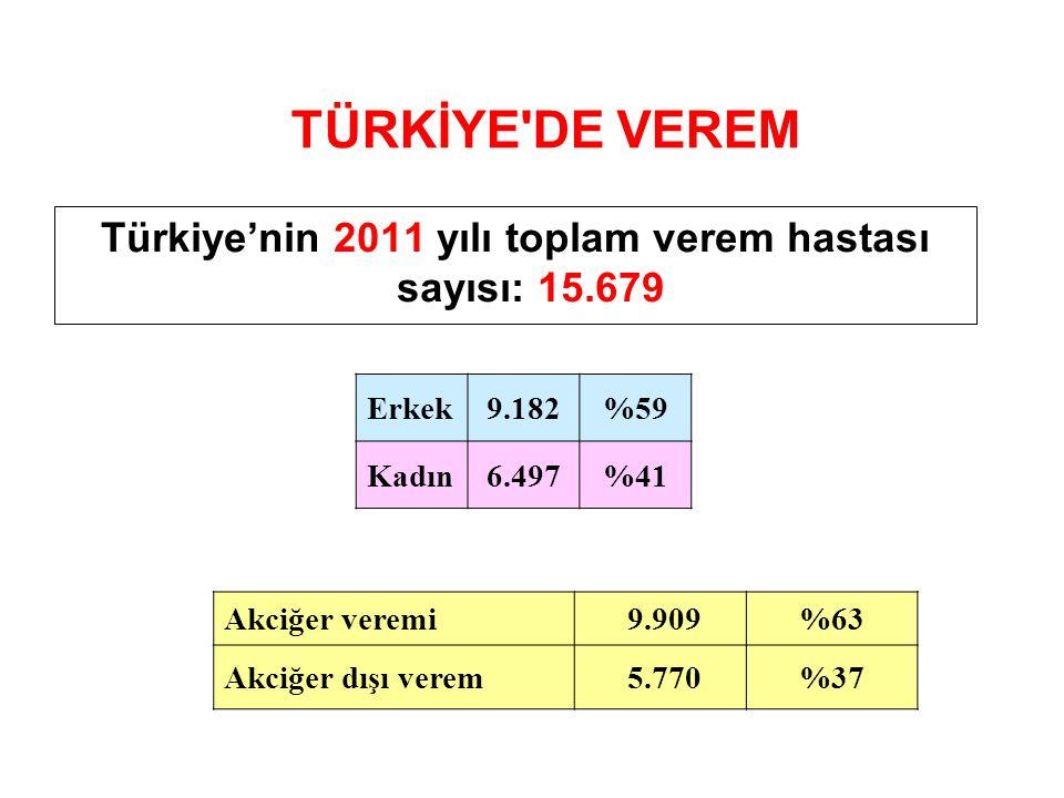 TÜRKİYE'DE VEREM Türkiye'nin 2011 yılı toplam verem hastası sayısı: 15.679 Erkek9.182%59 Kadın6.497%41 Akciğer veremi 9.909%63 Akciğer dışı verem 5.77
