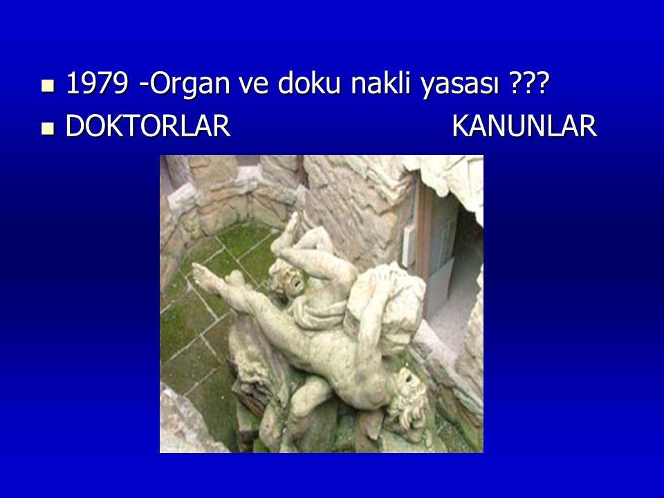  1979 -Organ ve doku nakli yasası ???  DOKTORLAR KANUNLAR