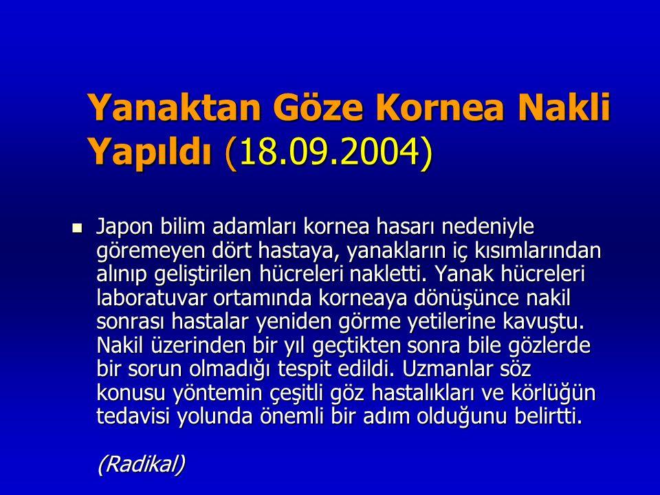 Yanaktan Göze Kornea Nakli Yapıldı (18.09.2004) Yanaktan Göze Kornea Nakli Yapıldı (18.09.2004)  Japon bilim adamları kornea hasarı nedeniyle göremey