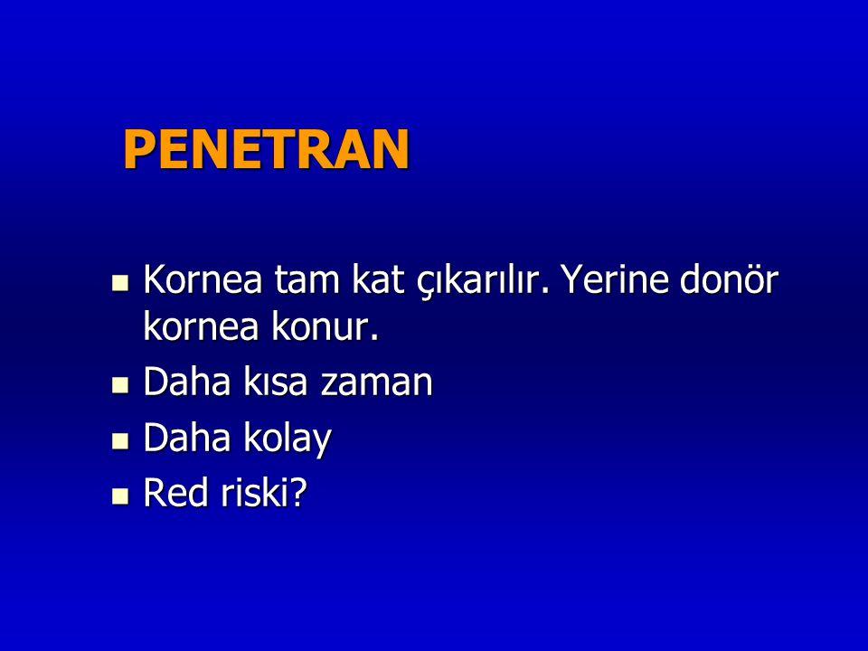 PENETRAN  Kornea tam kat çıkarılır. Yerine donör kornea konur.  Daha kısa zaman  Daha kolay  Red riski?