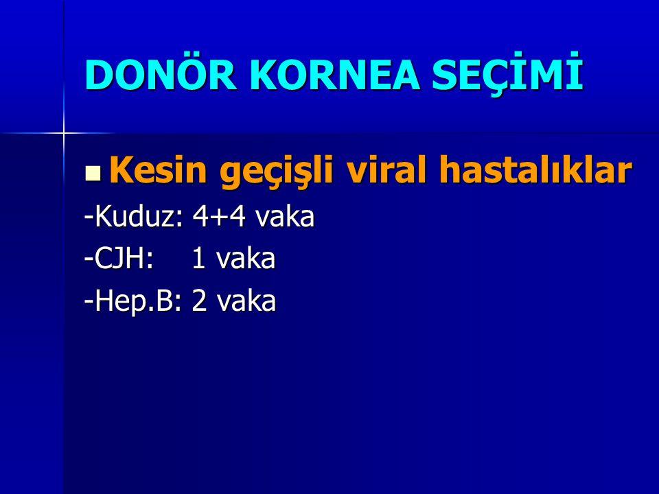  Kesin geçişli viral hastalıklar -Kuduz: 4+4 vaka -CJH: 1 vaka -Hep.B: 2 vaka DONÖR KORNEA SEÇİMİ
