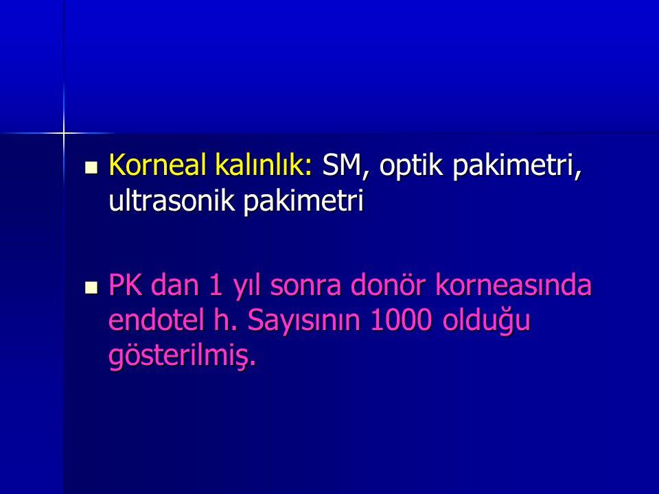  Korneal kalınlık: SM, optik pakimetri, ultrasonik pakimetri  PK dan 1 yıl sonra donör korneasında endotel h. Sayısının 1000 olduğu gösterilmiş.