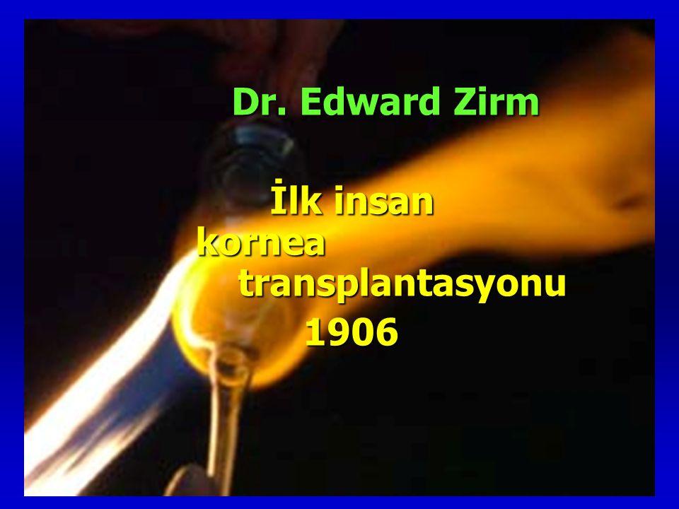 Dr. Edward Zirm Dr. Edward Zirm İlk insan kornea transplantasyonu İlk insan kornea transplantasyonu 1906 1906