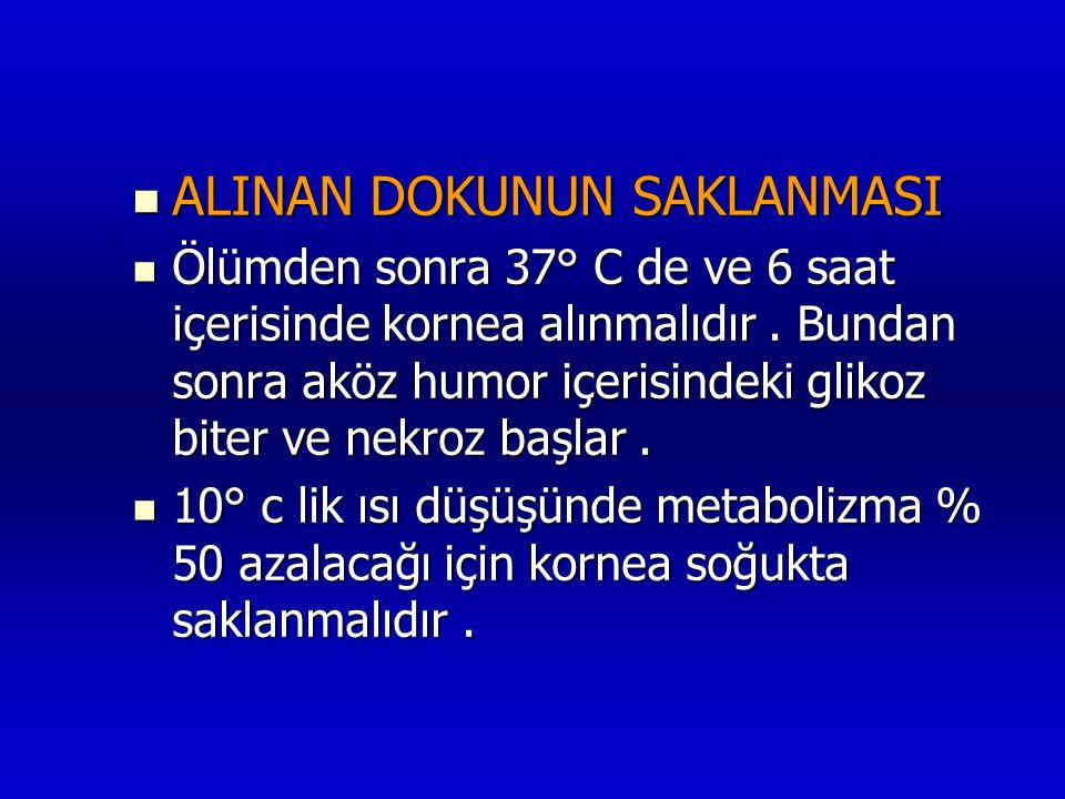  ALINAN DOKUNUN SAKLANMASI  Ölümden sonra 37° C de ve 6 saat içerisinde kornea alınmalıdır. Bundan sonra aköz humor içerisindeki glikoz biter ve nek