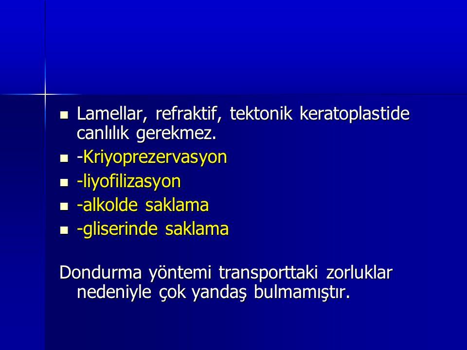 Lamellar, refraktif, tektonik keratoplastide canlılık gerekmez.  -Kriyoprezervasyon  -liyofilizasyon  -alkolde saklama  -gliserinde saklama Dond