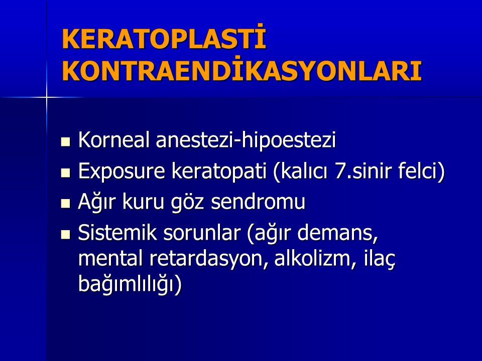 KERATOPLASTİ KONTRAENDİKASYONLARI  Korneal anestezi-hipoestezi  Exposure keratopati (kalıcı 7.sinir felci)  Ağır kuru göz sendromu  Sistemik sorun