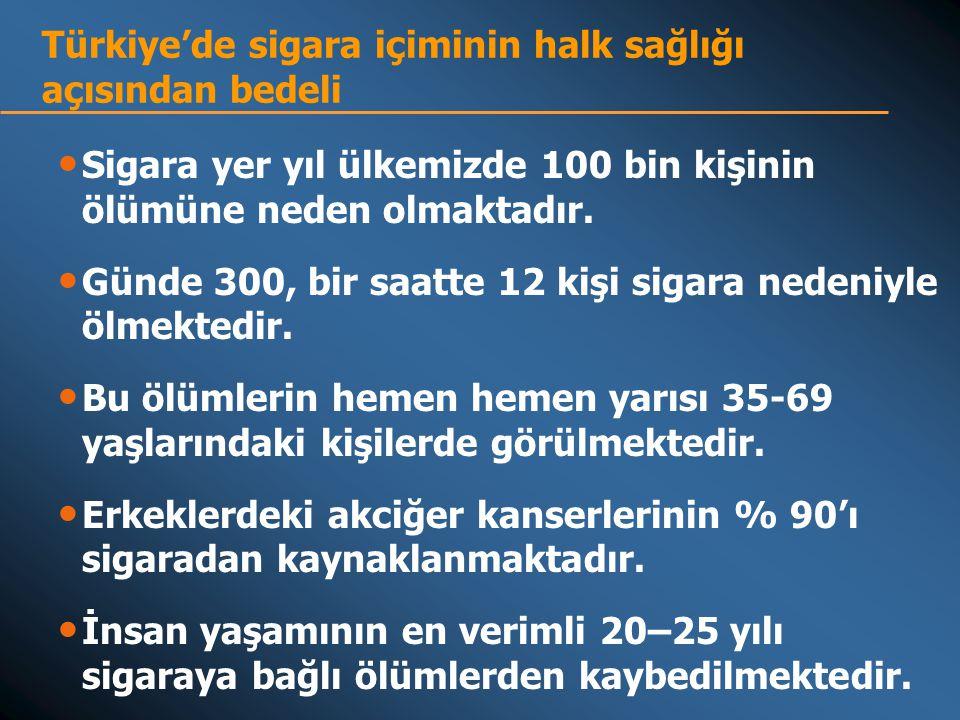 Türkiye'de sigara içiminin halk sağlığı açısından bedeli • Sigara yer yıl ülkemizde 100 bin kişinin ölümüne neden olmaktadır.