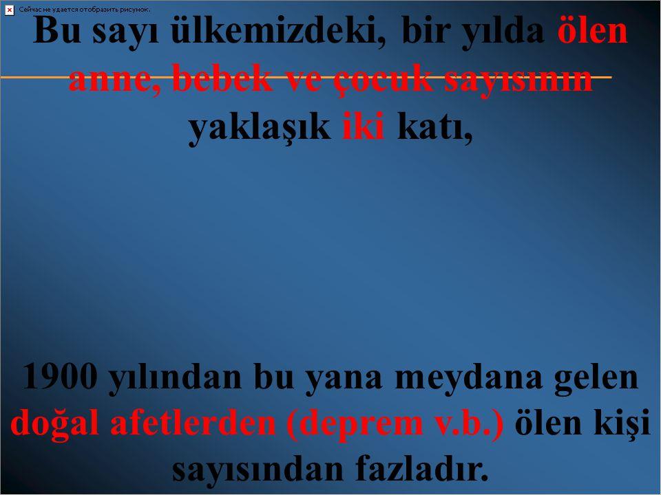Türkiye'de sigara içiminin halk sağlığı açısından bedeli • Sigara yer yıl ülkemizde 100 bin kişinin ölümüne neden olmaktadır. • Günde 300, bir saatte