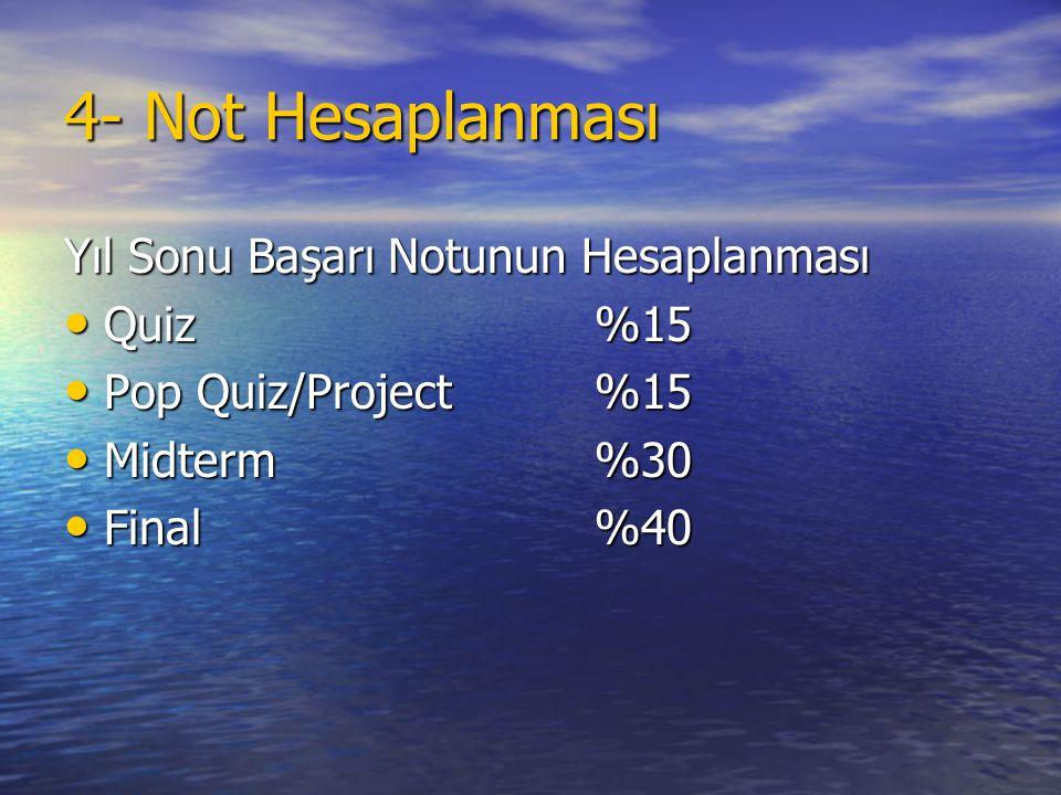 4- Not Hesaplanması Yıl Sonu Başarı Notunun Hesaplanması • Quiz%15 • Pop Quiz/Project%15 • Midterm%30 • Final%40