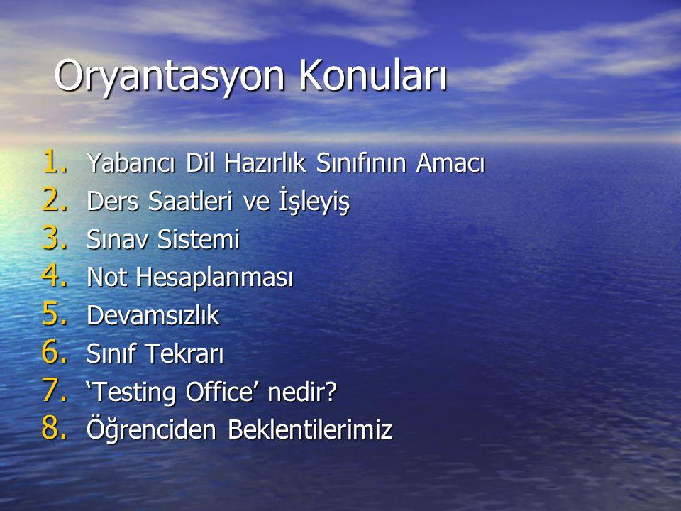Oryantasyon Konuları Oryantasyon Konuları 1. Yabancı Dil Hazırlık Sınıfının Amacı 2. Ders Saatleri ve İşleyiş 3. Sınav Sistemi 4. Not Hesaplanması 5.