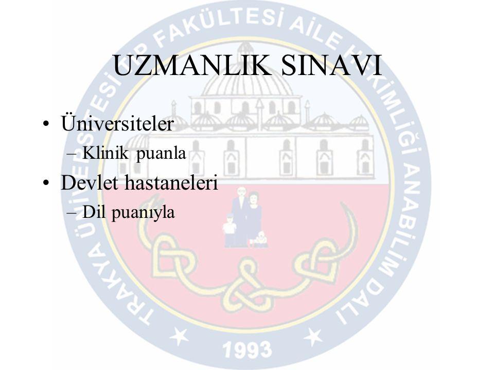 UZMANLIK SINAVI •Üniversiteler –Klinik puanla •Devlet hastaneleri –Dil puanıyla