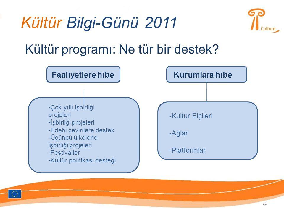 Kültür Bilgi-Günü 2011 Kültür programı: Ne tür bir destek.